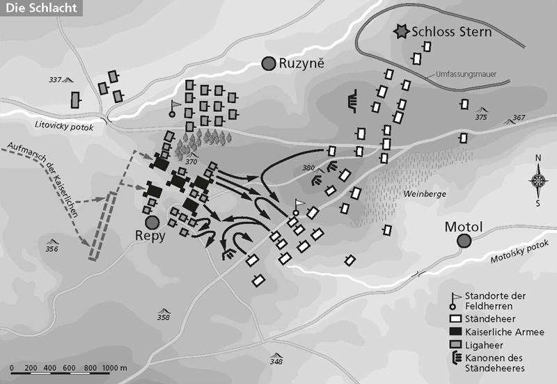 Karte der Schlacht am Weißen Berg