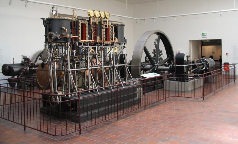 Historische Dampfmaschine im Deutschen Museum in München. Wiki Commons.