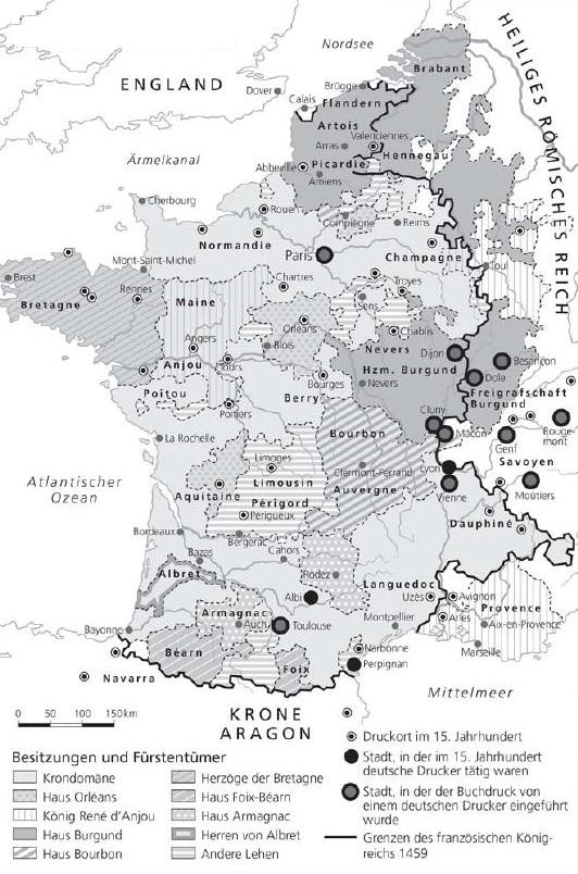 Politische Karte des Königreichs Frankreich Mitte des 15. Jahrhunderts, Illustration von Peter Palm