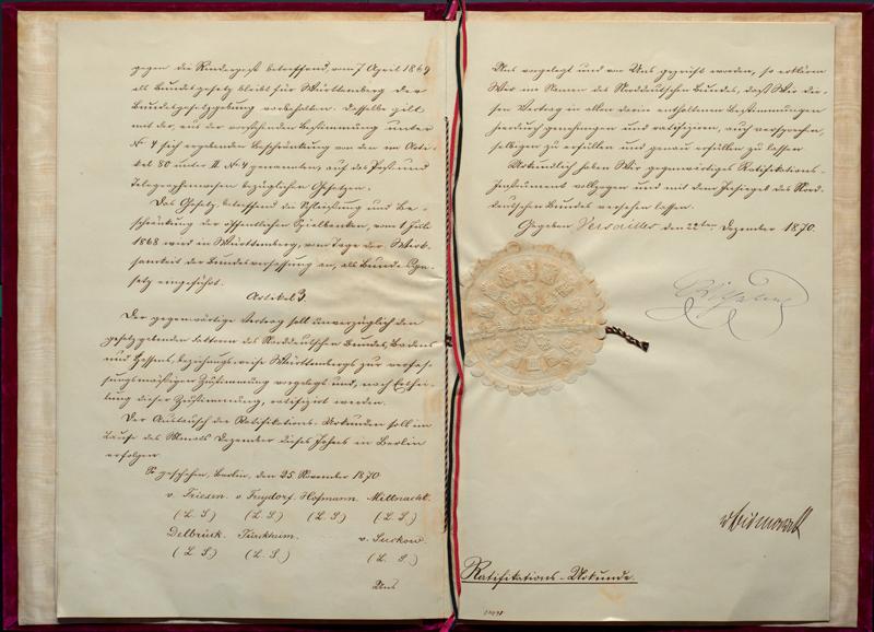 Beitritt Württembergs zum Deutschen Reich (preuß. Ratifikation), Versailles, 22. Dezember 1870 (Vorlage: LABW, HStA Stuttgart E 100 Nr. 24)