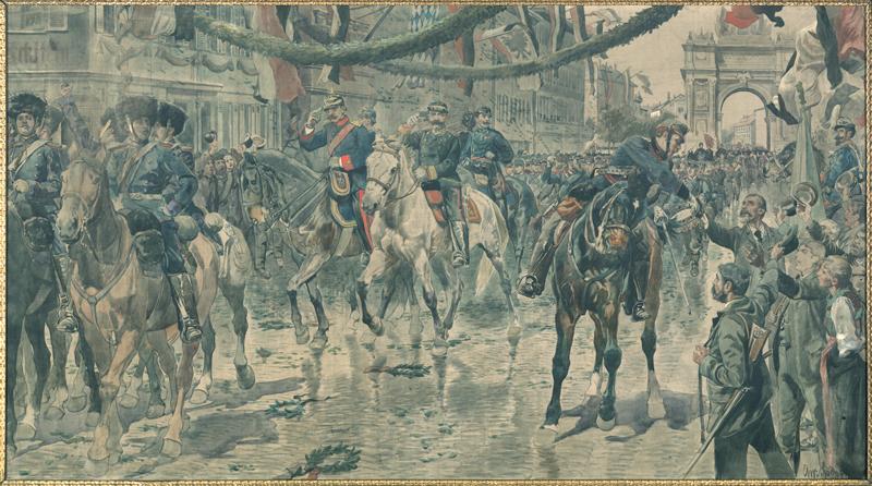 Einzug der württembergischen Truppen in Stuttgart am 29. Juni 1871, Ölgemälde von Christian Speyer (1855–1929), o. D. (Vorlage: LABW, HStA Stuttgart M 703 R969N4)