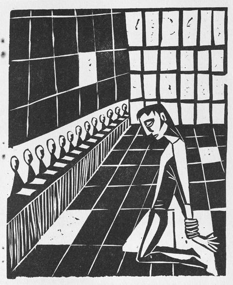 »Vor Gericht«, Linoldruck aus der runde, Ostern 1958 (Quelle: Steinle, Karl-Heinz (1998)