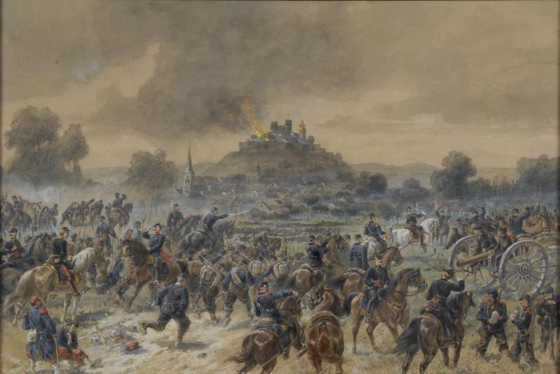 Belagerung der Festung Lichtenberg im Elsass durch württembergische Truppen am 9. August 1870, Aquarell von Karl Schott (1840–1911). o. D. (Vorlage: LABW, HStA Stuttgart M 703 R968N37)